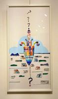 第10回カトレアガラスクラフト研究会作品展 奨励賞:高橋あつこさん「ハテ?サテ進路は?」